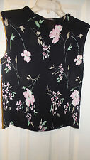 IMPRESSIONS FLORAL PRINT POLYESTER SLEEVELESS BLOUSE SIZE MEDIUM