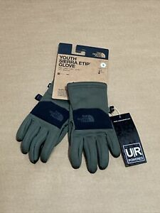THE NORTH FACE Youth Sierra ETip Gloves size Small Taupe Green Black