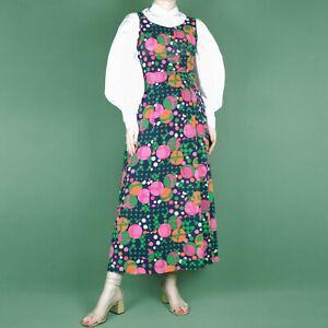 VINTAGE 70s 80s Maxi Long Spot Dot Psychedelic Pink Blue Pattern Dress S 8 10