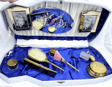 VTG Vanity Set Huge Foil Case Brush Hand Mirror Comb Jars Frames Mirror Perfume