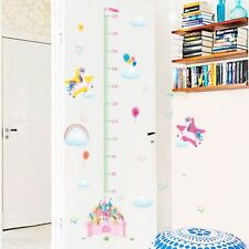Unicorn Wall Sticker Height Measure Growth Chart Decal for Girl's Room Bedroom