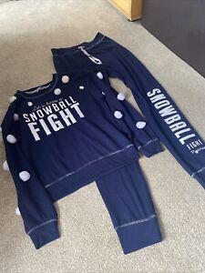 New Looks Navy Womens Snowball Fight Pyjamas Set Size 8