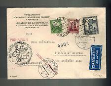 1937 Madrid Spain Civil War Czechoslovakia Legation Cover to Prague