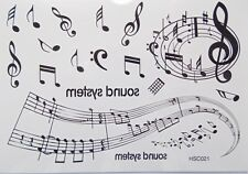 MUSICAL NOTES Temporary Body Tattoo Sheets  Assorted Black Sound System Music