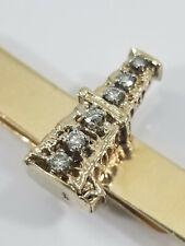 Vintage 14K Gold Diamond OIL RIG DERRICK Tie Bar Clip Neiman Marcus