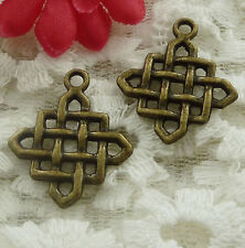 free ship 70 pieces bronze plated Chinese knot charms 25x21mm #2323