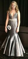 Jovani Prom Formal Pageant Dress Gown Silver Grey Rhinestone Mermaid 33072A Sz 6