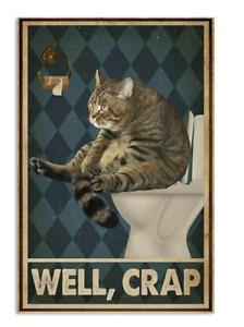Vintage Retro Style Funny Cat Bathroom Washroom Tin Metal Signs Wall Art Plaques
