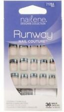 NAILENE RUNWAY FALSE NAIL COUTURE SILVER & BLACK FRENCH MANICURE NAILS 71264