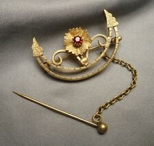 Antique Victorian Gold Filled Garnet Crescent Shaped Fichu Brooch w/ Pin & Chain