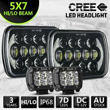 2PC HILUX LED UPGRADE HEAD LIGHT 5X7INCH HEADLIGHT REPLACEMENT HI/LO +4INCH SPOT
