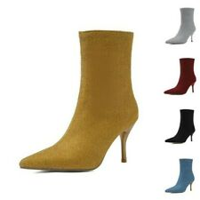 45/46/47 Ladies Casual Pointy Toe Stilettos High Heel Zip Up Ankle Boots Pumps D