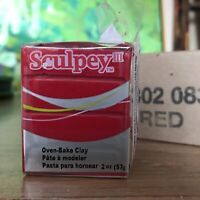 Sculpey III 083 RED 5pcs x 2oz Polymer Oven-Bake Clay Wholesale