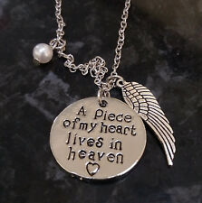 A Piece of My Heart Lives in Heaven Angel Wings Bereavement Baby Loss Necklace