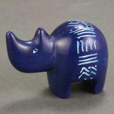 Itty bitty soapstone rhino - Navy blue - Hand carved in Kenya - Rhinoceros.