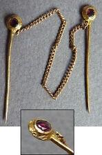 Épingle Berthe de col en OR massif 18k + grenat gold pin bijou ancien 19e siècle