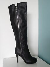 Great Black 100% Leather Knee Length Boots with Decorative Zip UK 4 EU 37
