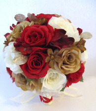 17 piece package Wedding Bouquet Bridal Bouquets Silk Flowers RED CHAMPAGNE GOLD