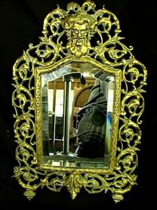 ANTIQUE BRASS MIRROR *BACCUS MASK* BEVELED GLASS c.1880