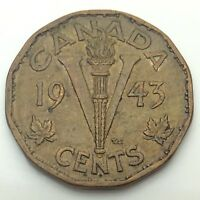 1943 Canadian 5 Five Cents Tombak Nickel Canada Circulated Coin C707