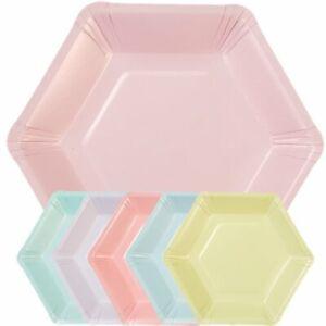 Pastel Mix Hexagonal Plates - 18cm Paper Party Plates