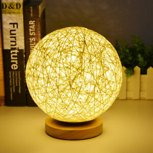 Wooden Rattan Table Lamp USB Desk Bedside Night Light Lamp Ball + Remote Control
