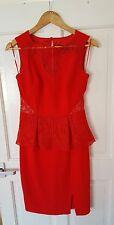 BNWOT £85 Lipsy Size 8 10Red Peplum Dress Wedding Party Races