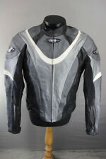 """SILVER, BLACK & WHITE PREXPORT LEATHER BIKER JACKET+CE ARMOUR/THERMAL LINING 40"""""""