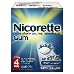 Nicorette Gum 4mg White Ice Mint 160pcs Stop Smoking Ex 12/23 Free Shipping