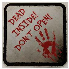 """DEAD INSIDE! DON'T OPEN!, 5.5"""" X 5.5"""" Sticker. ZOMBIE, HALLOWEEN"""