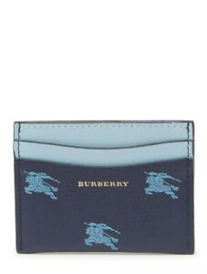 New Auth Burberry Horseferry Logo Leather Unisex Wallet Card Holder Blue $340