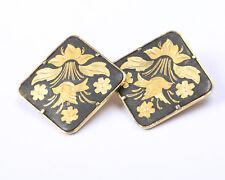 Damascene Earrings Vintage 1950s