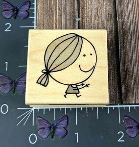 Hero Arts Smiling Girl Rubber Stamp 2012 D5595 Wood #O63