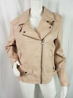 TopShop Coat Sz 14 Pink Vneck Vegan Leather Zip Front Moto Pockets Lined Collar