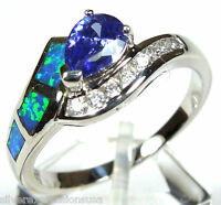Tanzanite & Blue Fire Opal Inlay Genuine 925 Sterling Silver Ring Size 6,7,8,9