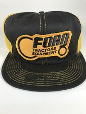 K Brand Ford Tractors Equipment Hat Black & Yellow Snap Adj. Size *Broken Bill
