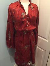Vintage 80's Rust Poly Flower Fancy Disco Dress S/m