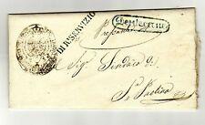"""1858 Regno di Napoli - lettera ann. ov. verde """"Dentecane"""" + di real servizio"""