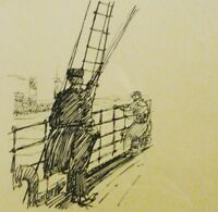 unleserlich signiert - antik-Lithographie 1925: ZWEI MATROSEN AN DER RELING