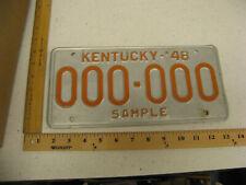 1948 48 KENTUCKY KY SAMPLE LICENSE PLATE # 000-000