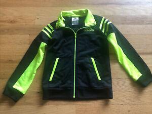 Boys 4T Adidas Black And Neon Yellow Lightweight Zip Up Jacket