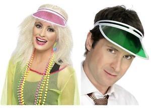 Adult Poker Visor Pink Green Sun Visor 80s Festival Party Fancy Dress Hat
