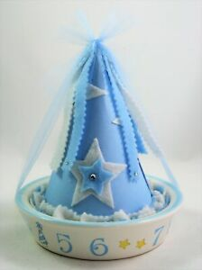 Child to Cherish Baby Blue Boy Birthday Party Hat and Bowl Plate Gift Set 6731BL