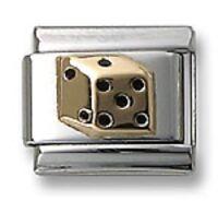 18K Gold Casino Dice Italian Charm Fit 9 mm Stainless Steel Link Bracelet
