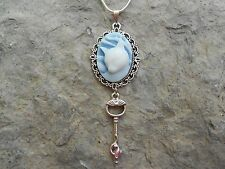 CAT CAMEO NECKLACE with cat skeleton key 925 PLATE CHAIN- QUALITY!!! CAT LOVERS