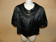 "NWT Women's ""Apt. 9"" M P Medium Petite Matte Black Satin Bolero/Shrug/Jacket"