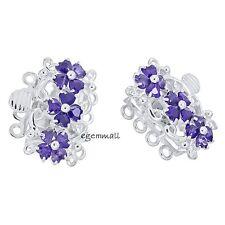 Fine Sterling Silver 4-Strand Flower Pearl Box Clasp wit CZ Amethyst #51469