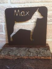 Metal Dog Memorial set in a wood base -  Home Decor