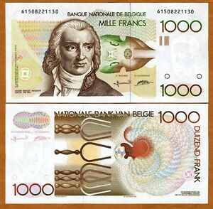 Belgium 1000 (1,000) Francs (1980-1996) P-144 (144a), UNC>  Pre -Euro