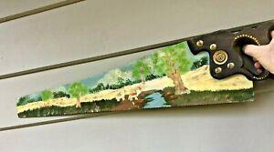 VINTAGE SPEAR & JACKSON SAW 7 Tpi old tool timber Artwork wall hanging landscape